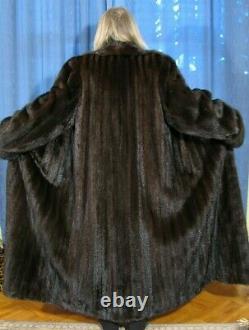 New Xl-14/16 Top Quality 52l Dark Ranch Female Mink Fur Coat