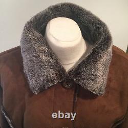 Nwt Quality Rust Faux Suede/shearling/dark Fur Long Jacket-short Coat Bust 42