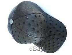 Ostrich Hat Genuine Skin Full Lining Snapback Adjustble, Dark Graygivald=i444