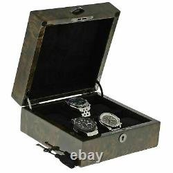 Premium Quality Dark Burl Wood Watch Box for 6 Watches with Solid Lid by Aevitas