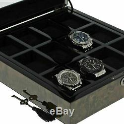 Premium Quality Dark Burl Wood Watch Collectors Box for 12 Watches by Aevitas