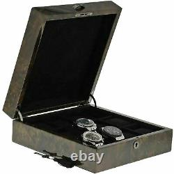 Premium Quality Dark Burl Wood Watch Collectors Box for 12 Watches with Solid Li