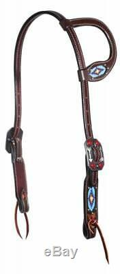 Professional's Choice Dark Rich Brown Beaded Single One Ear Headstall Tack