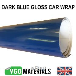 Quality Dark Blue Gloss Car Motorbike Vinyl Vehicle Wrap Air Release CW3372