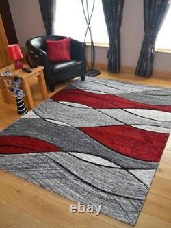 Quality Light Dark Silver Grey Red Waves Design Mats Rugs Long Hall Runner Cheap