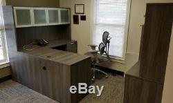 Quality New L Desk Glass Door Hutch Grey Dark Brown Mahogany Budget Office Furn