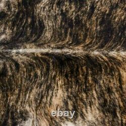 Real Cowhide Rug, exotic dark Brindle, Top Quality, Large Size, Size 6 by 7 ft