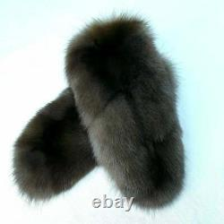 Russian barguzin sable Mittens Natural dark cotton best quality smoky brown gray