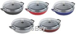 Staub Cast Iron 3.5-qt Cooking Braiser with Glass Lid 5 COLOR CHOICE NEW