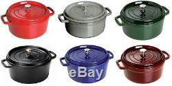 Staub Cast Iron 7-qt Round Cocotte Cooking Pot 6 COLORS CHOICE NEW