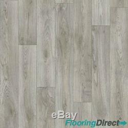 Super Thick Dark Grey Oak Quality Non Slip Vinyl Flooring Lino Kitchen 4mm