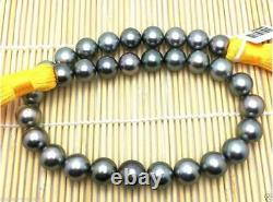 Top Quality 20 13-10mm real natural Tahitian dark grey round pearl necklace 14k