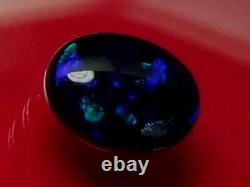 Top Quality Dark Green Blue Color Pattern Natural Solid Black Opal 4.54 carat