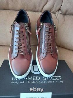 Top Quality Designer Italian Leather Mens/boys Sneakers/trainers Dark Brown Uk 8