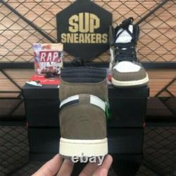 Top Quality Travis Scott x Air 1s Dark Mocha Men Women Basketball Sports Shoes