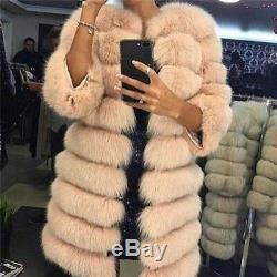 Top Quality Women Genuine Real Natural Fox Fur Coat Jacket Detachable Overcoat