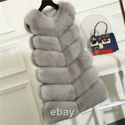Top Quality Women's Real Natural Vulpes Fox Fur Vest Coat Gilet Thick Waistcoat
