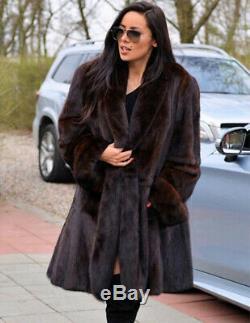 Top Quality Women's Whole Skin Genuine Mink Fur Coat Lapel Jacket Thick Overcoat