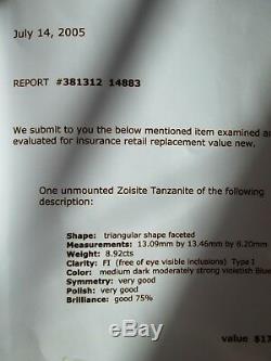 Trillion cut, 8.92 ct. Gem quality Tanzanite. Color Dark /strong violetish blue
