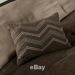 Ultra Soft Tan Taupe Beige Dark Chocolate Brown Modern Comforter Set & Pillows