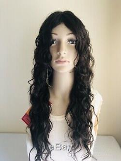 WANNABE Premium Quality 22 Long 100% Human Hair Wig Wavy & Wet Dark Brown
