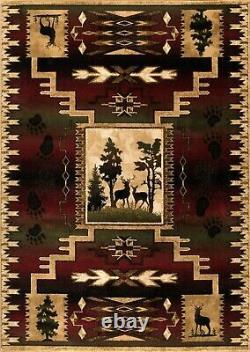 Wildlife Nature High Quality Area Rug Deer Elk Bear Paw Lodge Cabin