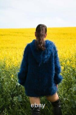 Women's Hand Knitted HIGH QUALITY MOHAIR Dark Blue Black Hooded Jumper Sweater