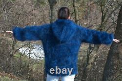 Women's Hand Knitted HIGH QUALITY MOHAIR Dark Blue Black Hooded Jumper Sweater