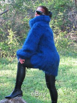 Women's Hand Knitted HIGH QUALITY MOHAIR Dark Blue Turtle Neck Blouson Sweater