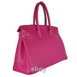 Women's bag Genuine leather Made in Italy High quality FG Birk Dark Pink