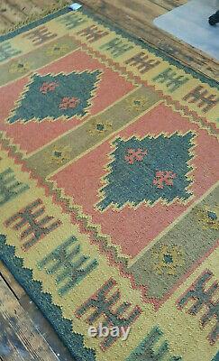 Wool Jute Kilim Dark Grey, Rose, Taupe 120x180cm Quality Hand Made Reversible rug