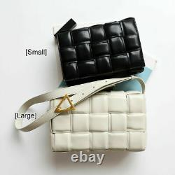Woven Padded Cassette Bag Weave Women Leather Shoulder quality fashion Purse