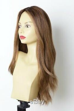Yaffa Wigs Finest Quality Brown WithHighlights Dark Roots Long 100% Human Hair