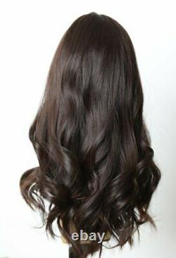 Yaffa Wigs Finest Quality Long Dark Brown Straight 100% Human Hair