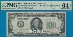 100 $. 1934 San Francisco Frn Dark Green Seal Certified Pmg Choice Nouveau 64epq