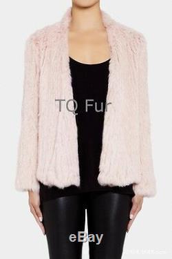 100% Vrai Tricoté Manteau De Fourrure De Lapin Cardigan Veste Mode De Vêtement De Qualité Supérieure