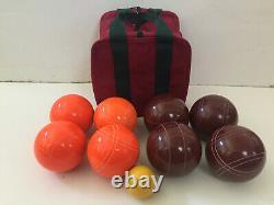 (17 Sur 22) Epco Premium Quality Bocce Set -110mm Orange And Dark Red Balls