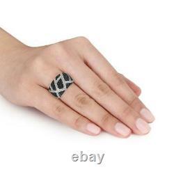 2.50 Ct Anneau Saphir Diamant Et Bleu Foncé De Haute Qualité