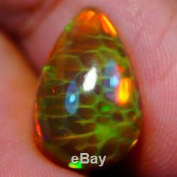 4.70 Ct Hexagone Echelle Poisson / Poisson Base Sombre Rare Qualité Ethiopien Opale Eaa86