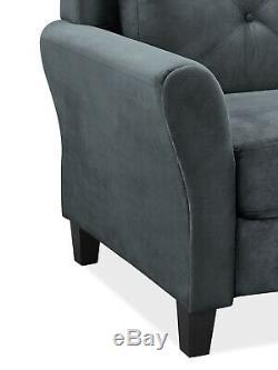 Accueil Meubles Taryn Rolled Arm Canapé En Tissu De Qualité En Peluche Confort Gris Foncé Nouveau