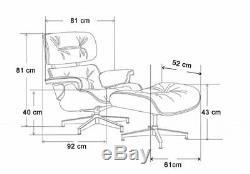 Au Milieu Du Siècle Eames Lounge Chair & Ottoman Premium Quality Cuir Palissandre Foncé