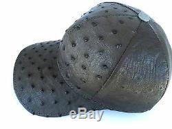 Autruche Chapeau Véritable Peau Doublure Pleine Snapback Adjustble, Foncé Graygivald = I444