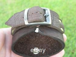 Bracelet Manchette En Cuir De Bison De Haute Qualité Marron Foncé Réglable De 7 À 8 Tailles