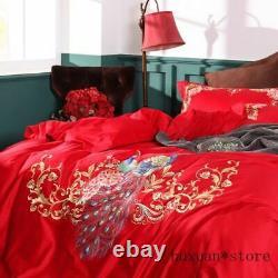 Broderie Peacock Floral Duvet Cover Premium Egyptian Cotton Dark Bedding Set