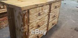 Connexion 6 Tiroirs Commode Construit À La Main De Qualité Supérieure! Rustic Log Cabine Meubles