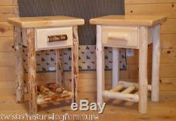 Connexion Fin De Table / Table De Nuit Space Saver Top Quality! Mobilier En Rondins Rustiques
