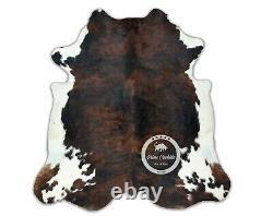 Cowhide Rug Dark Brindle Tricolore Taille Moyenne De Haute Qualité (m) C139