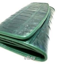 Crocodile Véritable Véritable Peau Femmes Sac Vert Foncé Classique Qualité Unique Cites