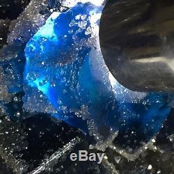 Cube Translucide De Qualité 3975g Musée Noir Fantôme Bleu Groupe Fluorite