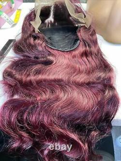 Custom High Quality 24'' Dark Red Loose Wave Virgin Human Hair Front Perruque De Dentelle